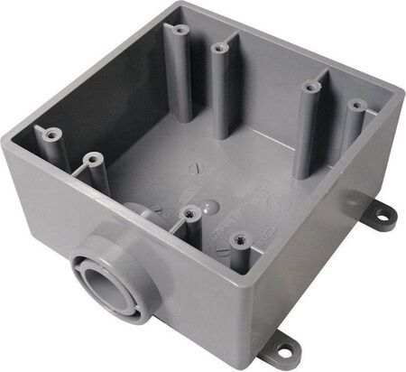 Cantex 6 in. H Square 2 Gang Outlet Box 3/4 in. Gray PVC