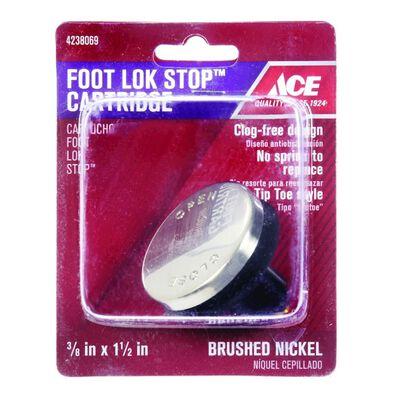 Ace 3/8 in. Dia. Foot Lok Stopper Plastic Brushed Nickel