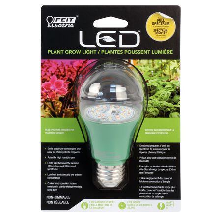 FEIT Electric LED Grow Light Bulb 9 watts A-Line A19 1 pk
