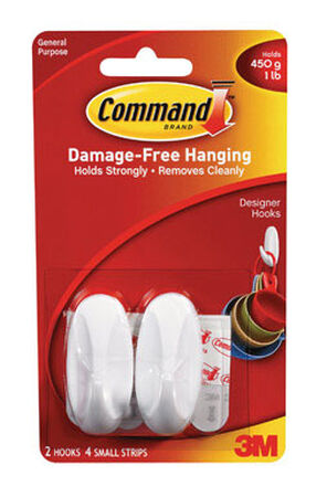 3M Command Small Designer Hook 2-1/8 in. L Plastic 1 lb. per Hook 2 pk