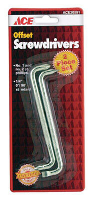 Ace 2 Piece Assorted Offset Screwdriver Set Clear 2 pc.