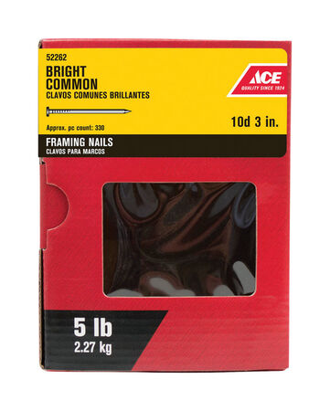 Ace Round 3 in. L Common Nail Smooth Bright Steel 5 lb.