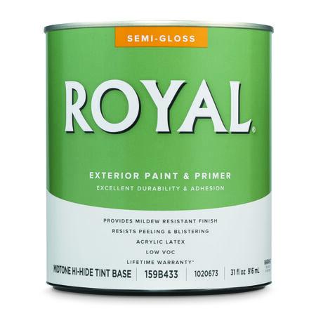 Royal Semi-Gloss Mid-Tone Base Acrylic Latex Paint + Primer Outdoor 1 qt.