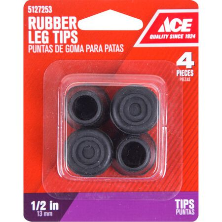 Ace Rubber Round Leg Tip Black 1/2 in. W 4 pk