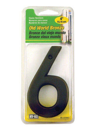Hy-Ko Nail On Bronze 4 in. Metal Number 6