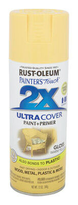 Rust-Oleum Painter's Touch Ultra Cover Warm Yellow Gloss 2x Paint+Primer Enamel Spray 12 oz.