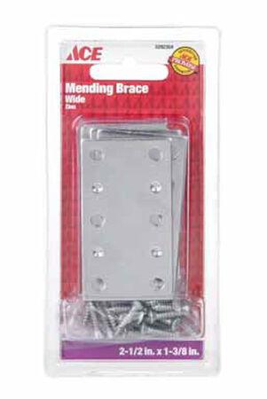 Ace Mending Brace 2-1/2 x 1-3/8 Zinc 4 pk Carded