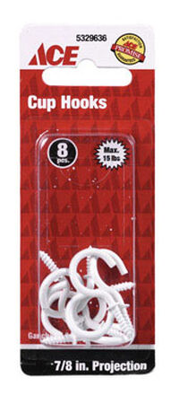 Ace 3/32 0.875 in. L White Cup Hook 1 pk