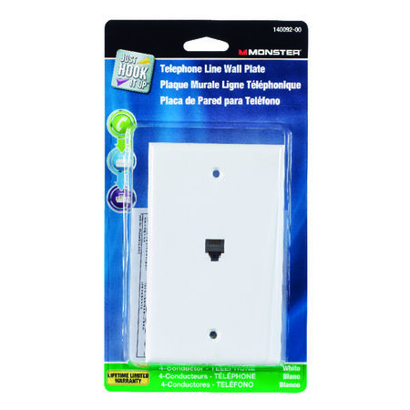 Monster Cable Just Hook It Up 1 gang White Plastic Cable/Telco Telephone Line Wall Plate 1 pk
