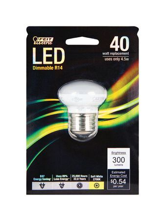 FEIT Electric 4.5 watts 300 lumens 2700 K Medium Base (E26) R14 LED Bulb Soft White Reflector