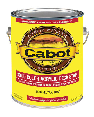Cabot Solid Color Acrylic Deck Stain Neutral Base Tintable 1 gal.