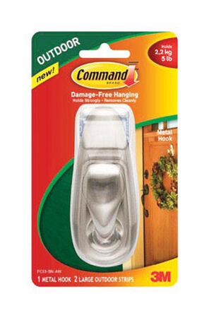 Command Classic Hook Metal 5 lb. Large Brushed Nickel 1