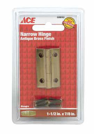 Ace 1-1/2 in. L Narrow Hinge Antique Brass