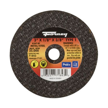 Forney 3 in. Dia. x 1/8 in. thick x 3/8 in. Metal Cut-Off Wheel