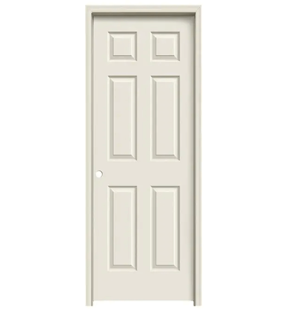 "Colonist 28"" x 80"" Single Prehung Interior Door Unit - Primed 6-Panel Hollow Core Left Hand"