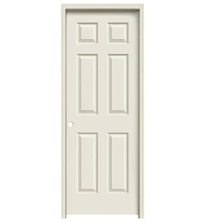 "Colonist 28"" x 80"" Single Prehung Interior Door Unit - Primed 6-Panel Hollow Core Left Hand"