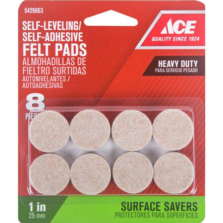 Ace Felt Round Self Adhesive Pad Brown 1 in. W 8 pk