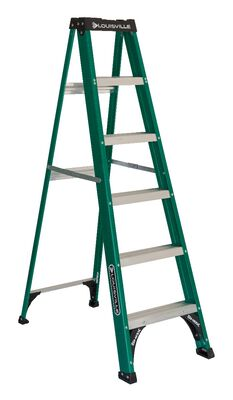 6 ft Louisville FS4006 Fiberglass Step Ladder, Type II, 225 lb Load Capacity