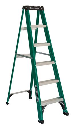 6 ft Louisville FS4006 Fiberglass Step Ladder, Type II, 225 lb Load Capacity