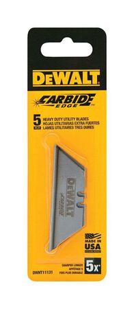 DeWalt Carbide Edge Steel Heavy Duty Utility Knife Replacement Blade 5 pk