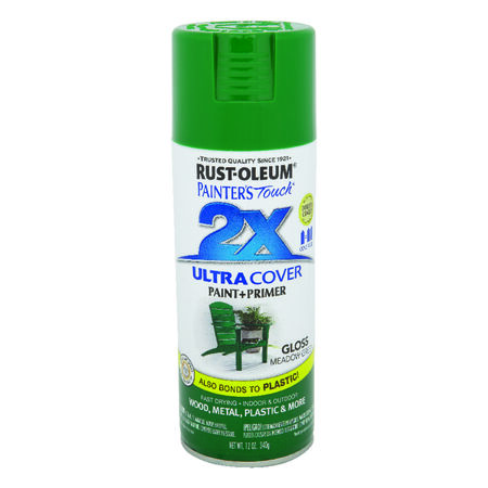 Rust-Oleum Painter's Touch Ultra Cover Meadow Green Gloss 2x Paint+Primer Enamel Spray 12 oz.