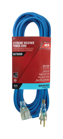 Ace Indoor and Outdoor Extension Cord 14/3 SJOW 25 ft. L Blue
