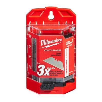 Milwaukee 3 in. L x 0.03 in. Micro Carbide Metal Utility Blade Dispenser with Blades 100 pc.