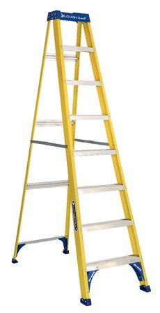 8 ft Louisville FS2008 Fiberglass Step Ladder, Type I, 250 lb Load Capacity
