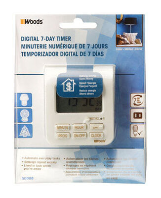 Coleman Cable Indoor 7 Day Digital Timer 15 amps 125 volts White