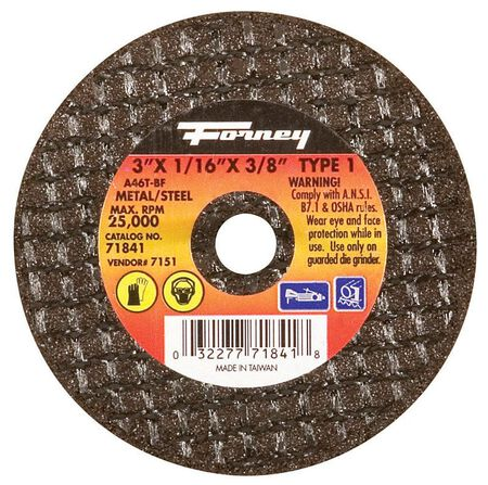 Forney 3 in. Dia. x 1/16 in. thick x 3/8 in. Metal Cut-Off Wheel