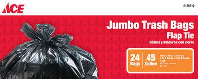 Ace 45 gal. Trash Bags Flap Tie 24 pk