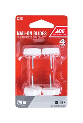 Ace 0.88 in. Dia. x 0.9 in. W Plastic / Nylon Nail-On Glide with Plastic Base 4