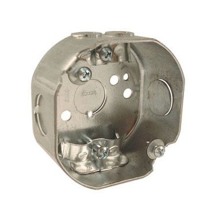 Raco 4 in. H Octagon 1 Gang Junction Box 1/2 in. Gray Steel