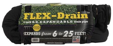 Flex-Drain 25 ft. L x 4 in. Dia. x 4 in. Dia. Poly Drain Pipe with Sock