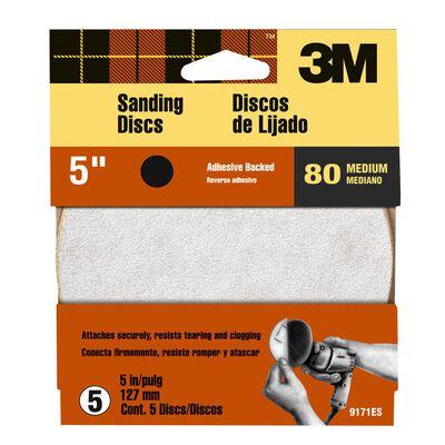 3M 5 in. Dia. Sanding Disc 80 Grit Medium Adhesive 5 pk