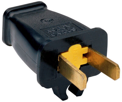 Pass & Seymour Residential Thermoplastic Non-Polarized Plug With Cord Clip 1-15P 16 AWG 2 Pole