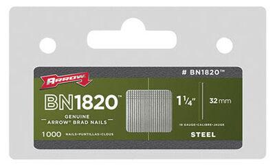 Arrow BN1820 18 Ga. x 1-1/4 in. L Galvanized Steel Finish 1000 pk Brad Nails