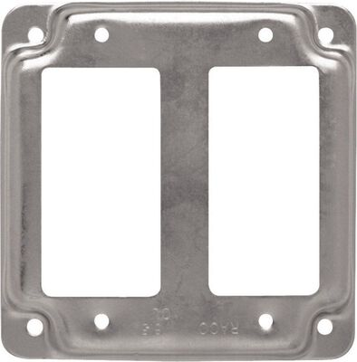 Raco Square Steel 2 gang Electrical Cover For 2 GFCI Receptacles Silver