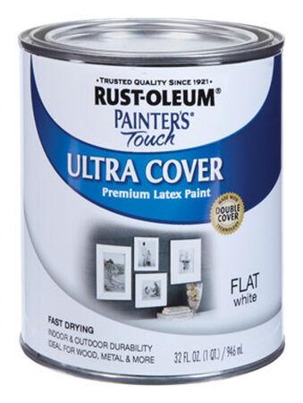 Rust-Oleum Interior/Exterior Latex Interior/Exterior Acrylic Latex White Flat 1 qt.