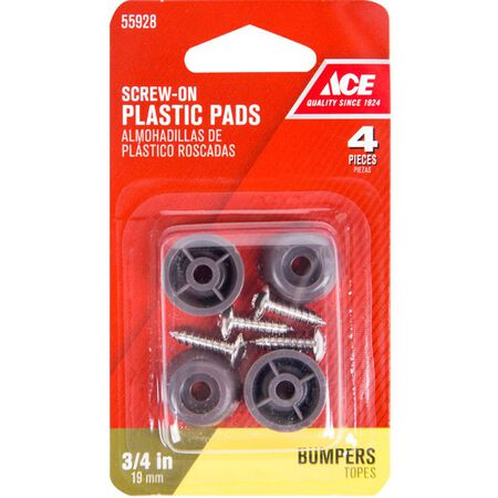 Ace Plastic Round Bumper Pads Brown 3/4 in. W 4 pk