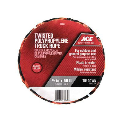 Ace 1/2 in. Dia. x 50 ft. L Twisted Poly Truck Rope Black/Orange