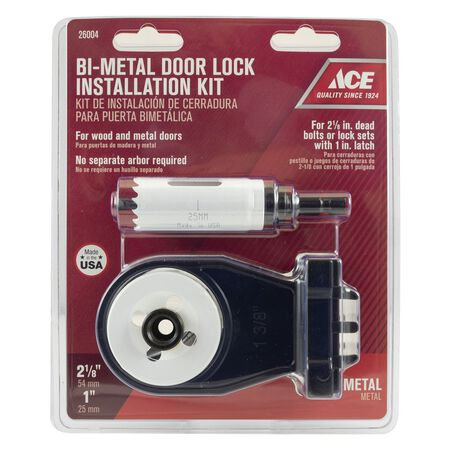 Ace Door Lock Installation Kit Bi-Metal 2-1/8 and 1 in. Dia. 2 pc.