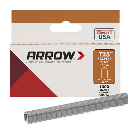 Arrow T25 Round Crown Staples Gray 7/16 in. L
