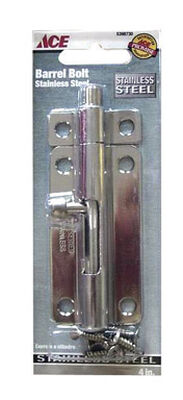 Ace Heavy Duty Barrel Bolt 4 in. Stainless Steel Latches Doors and Cages