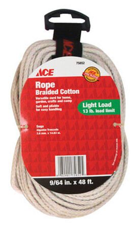 Ace 9/64 in. Dia. x 48 ft. L Braided Cotton Cord Natural
