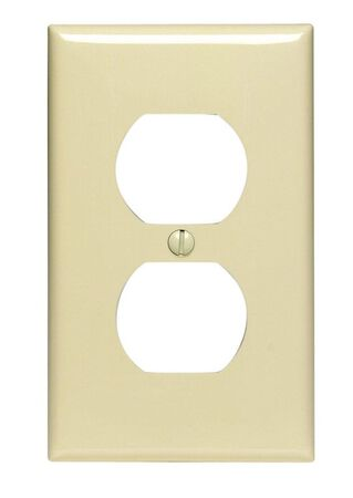 Leviton 1 gang Ivory Nylon Duplex Outlet Wall Plate 1 pk