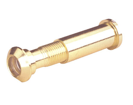 Prime-Line Door Viewer 0.46 in. x 0.46 in. x 2 in. Polished Brass Solid Brass Use on Thick Wood or M