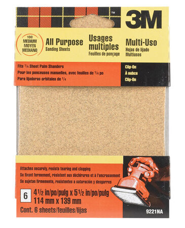 3M Aluminum Oxide 1/4 Sheet Sandpaper 5-1/2 in. L 100 Grit Medium 6 pk