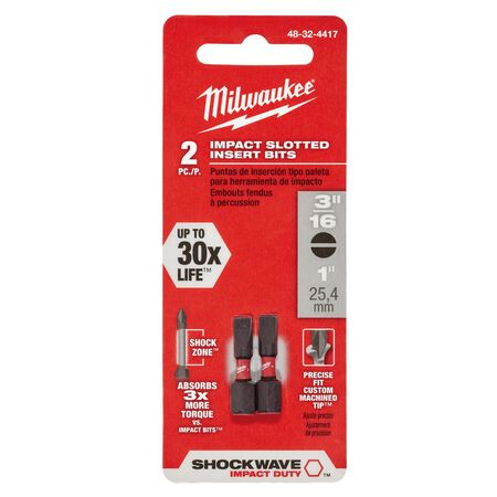Milwaukee SHOCKWAVE Slotted 3/16 in. x 1 in. L Impact Duty Insert Bit Steel 2 pc.