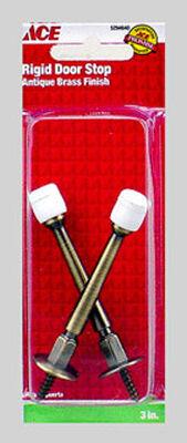 Ace Metal Rigid Door Stop 3 in. L Antique Brass